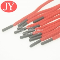 China red round polyester sting cord injecte matte logo plastic aglets eco-friendly material tpu soft aglet cords wholesale