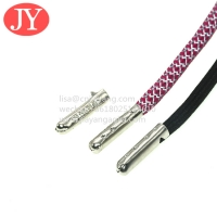 China Jiayang Garment drawstring manufacturer custom engrave logo aglets hoodie laces with a metal tip wholesale