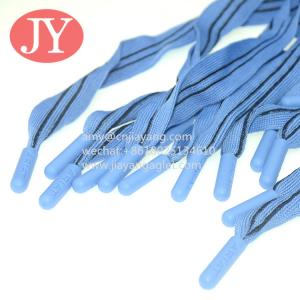 China blue and black flat cord drawstrings soft silicone end cord for women's short polyester cord custom aglet wholesale