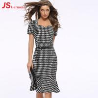 China 20713 Houndstooth Fishtail Gown Summer Party Fashionable Dress For Fat Women wholesale