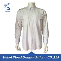 China Cotton Twill White Long Sleeve Security Guard Shirts Traditional Style Printed Logo wholesale