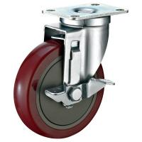 China Industrial Steel Heavy Duty Cart Wheels , Red PU Locking Swivel Casters wholesale