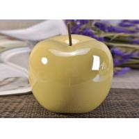 China Decorative Ceramic Wedding Table Centerpieces Yellow Glazed Apple Shaped wholesale