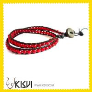 China Leather Crystal Bangle Charm Bracelets  wholesale