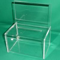 China Green 3mm Clear Acrylic Storage Boxes Locking for Vote , Coin , Donation wholesale