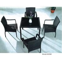 China 5-piece black PE wicker rattan outdoor patio dining set for 4 people with 4 arm chairs-8059 wholesale