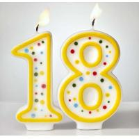 Buy cheap Custom Arabic Number Birthday Candles 1 To 18 With Colorful Dot No Harmful from wholesalers