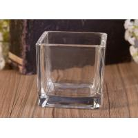 China Mini Square Cube Shaped Glass Candle Holder Clear Replacement Glass Candle Vessel wholesale