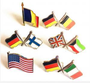 China DF Custom Lapel Pins No Minimum Order National Flag American Flag Double Flags wholesale