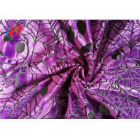 China Pumpkin Printed Burnout Velvet Polyester Spandex Fabric For Christmas Dress wholesale