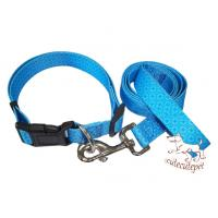 China dog leashes with collar set nylon material blue color wholesale