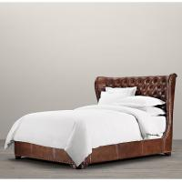 China Bedroom Furniture Churchill queen size leather bed , double leather beds wholesale