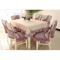 China Custom wedding floral 78inch rectangle tablecloths and quilted stitch chair covers, on sale