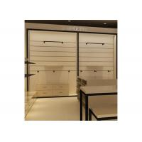 China Height 240CM  Wall Mounted Display Cabinets With Wood Shelf Metal Hanging Bar wholesale