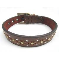 China Big leather dog collar with genuine leather 30pcs/lot good quality cheap price wholesale