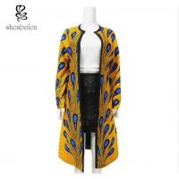 China Yellow Color Collarless African Ladies Jackets , Long African Print Trench Coat wholesale