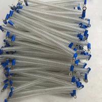 China High grade polyurethane cordage & tube clear color retracting coil tether with 2pcs eyelet wholesale