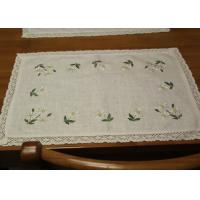 China Embroidered Patchwork White Cotton Tablecloths Rectangular With Logo Customized wholesale
