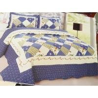 China Blue Checkered Home Bed Quilts Soft Touch For Indoor Household Decoration wholesale