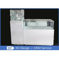 China Glossy White Square / Rectangle Custom Glass Display Cases With Shelf Inside wholesale