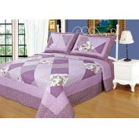 China Irregular Cloud Stitching Quilt Comforter Sets , Purple Checkered Full Size Bedspread wholesale