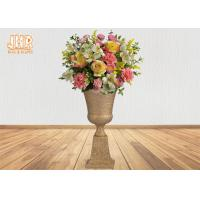 China Classic Frosted Gold Fiberglass Urn Planters Centerpiece Table Vase Trophy Shape on sale