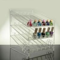 China 3 - Tier Inclined Ladder Clear Acrylic Nail Polish Display Shelf Rack Black 4mm wholesale