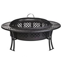 China Outdoor Garden leisure party New steel table fire pit with screen and cover wholesale