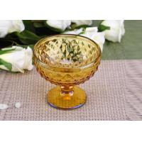 China Yellow Stemware popular wedding glass candle holders Bowl Shape wholesale