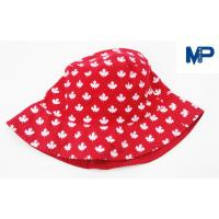 China Fashion 100% Polyester Printed Bucket Hats , Floral Bucket Hat Red Color wholesale