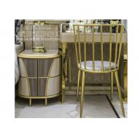 Buy cheap Modern Bedroom Stainless Steel Furniture Study Table Chair with Golden Color from wholesalers