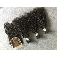 China Safe Peruvian 8A Virgin Hair Kinky Curly Hair Bundles With 4x4 Kinky Curly Closure wholesale
