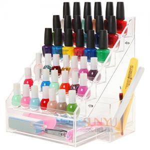 China 6 Tiers Acrylic Nail Polish Stand Shelving Customized Transparent 200Pcs wholesale
