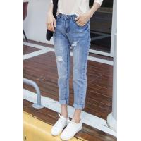 China Button Fly Light Fading Wrinkled Womens Tapered Jeans , Destroyed Skinny Jeans wholesale
