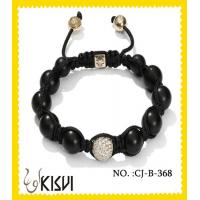 China Alloy + crystal + agate round black 10mm crystal beaded bracelet wholesale