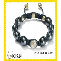 China Rhodium / gold / rose gold plated alloy & crystal beaded bracelets in OPP bag wholesale