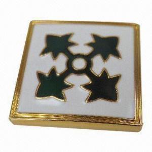 China Square Badge, Made of Lead-free Zinc Alloy, Artificial Enamel Epoxy Finishing wholesale