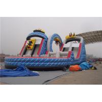 China Ourdoor Playground Big Kid Large Inflatable Slide With Obstacles And Climbing Wall wholesale