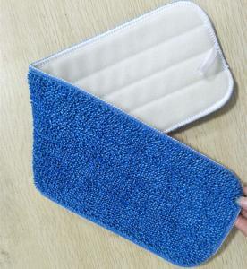 China Microfiber 13*48cm 450gsm Blue Twisted 5mm Sponge 280gsm Nylon Self-adhesive Mop Pad Head wholesale