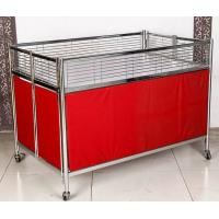 China Foldable Moving Supermarket Promotion Table / Durable Metal Shelf Cart With Castors wholesale