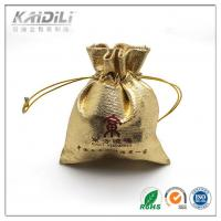 China Golden Satin Jewelry Pouch 7*8cm , Drawstring Jewelry Bags Button Closure wholesale