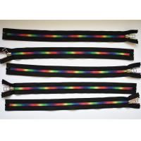 China Plastic Type Sewing Notions Zippers , rainbow teeth multi colored zipperr for garment wholesale