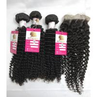 China 18 Inch Peruvian Kinky Curly Hair Bundles With Closure Natural Color wholesale