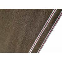 China Coffee Color Selvage Bleached Denim Fabric Cotton Duck Canvas 7.7oz W93510A wholesale