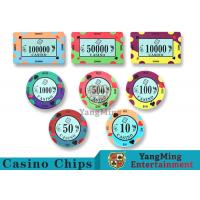 China 40 / 43mm Diameter Ceramic Casino Chips Bright Colors With Custom Printed Design wholesale