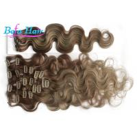 China Ash Blonde Loose Wave Clip In Brazilian Human Hair Extension 10 Inch With No Shedding wholesale