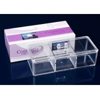 China 3 Compartments Acrylic Makeup Display Stand Clear Plastic Swab Box With Lid Handle wholesale