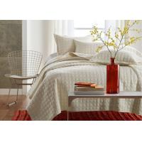 China Square Embroidered Solid Dune Quilt Set , 100% Cotton 3Pcs White Quilt Set wholesale