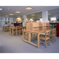 China Workstations table and Reading Desks used Oak wood furniture with Study chairs and Tall Bookshelf display cabinets on sale