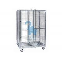 China Multi - Level Foldable Wire Mesh Storage Cages Wire Mesh Cart With Wheels wholesale